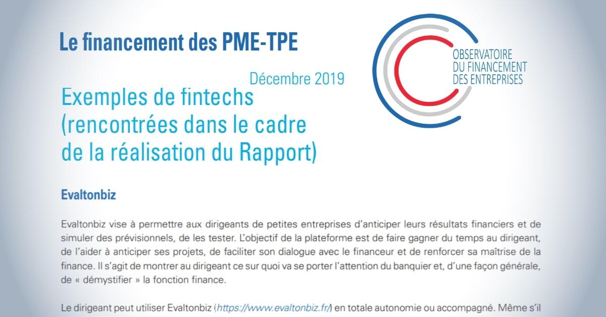 EVALTONBIZ dans le rapport de l'OFE et de la Banque de France