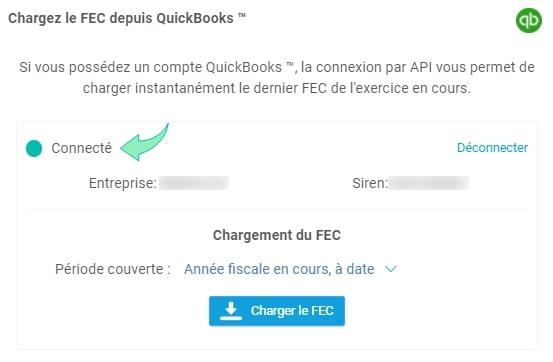 Integration Quickbooks Connexion confirme